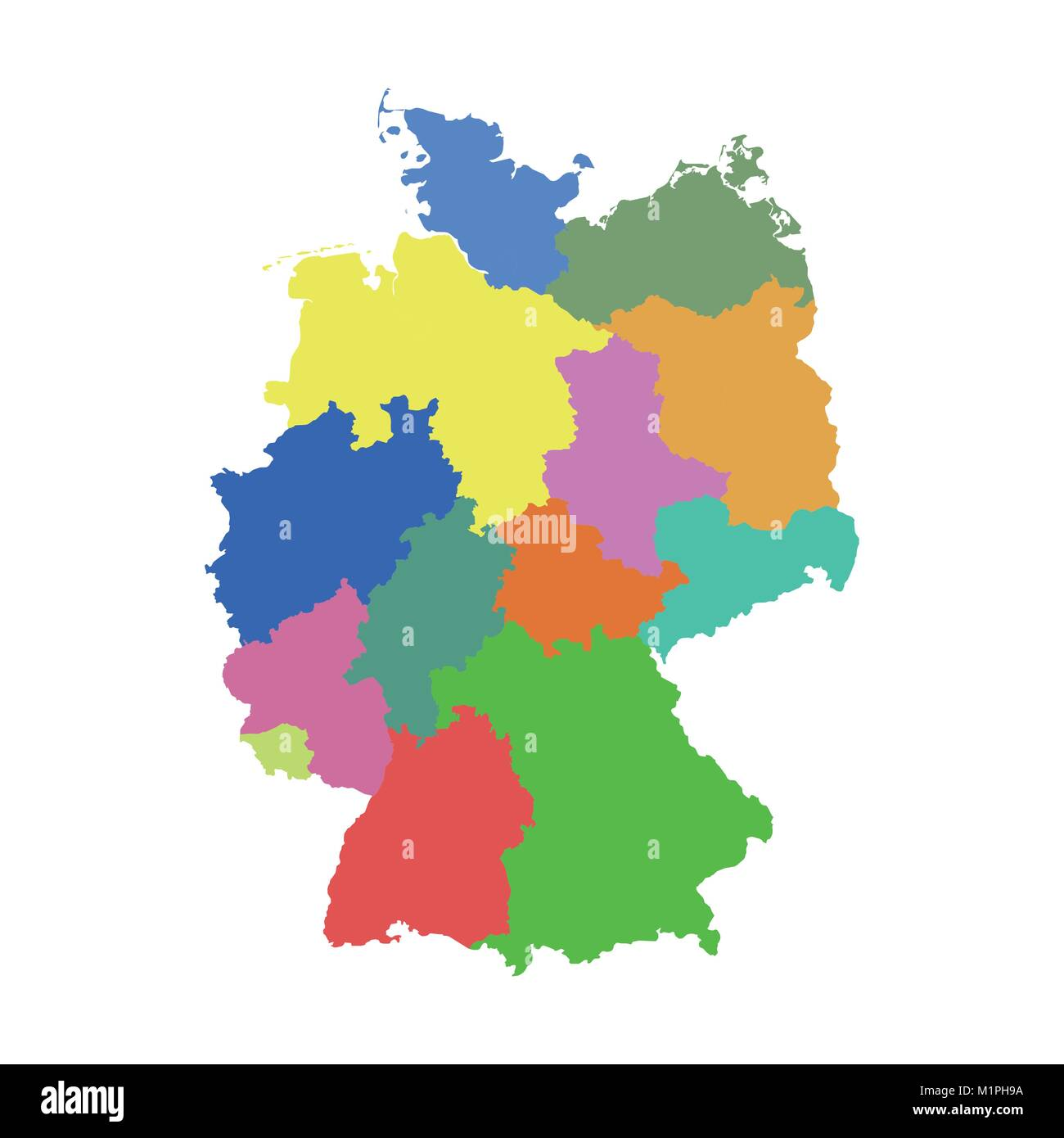 Germany map with federal states. Flat vector Stock Vector ...