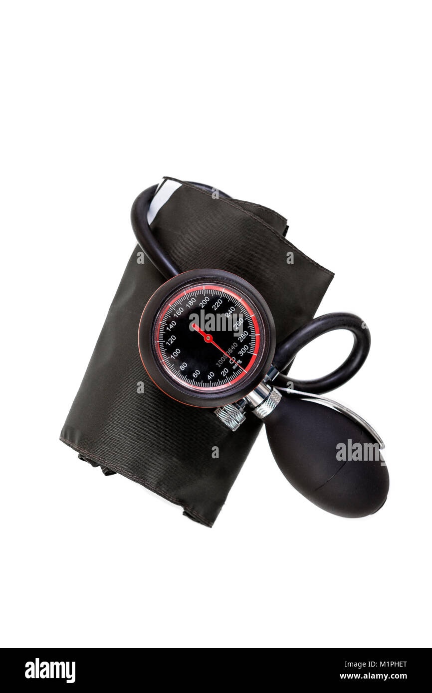 Manual blood pressure sphygmomanometer isolated on white background - Stock Image