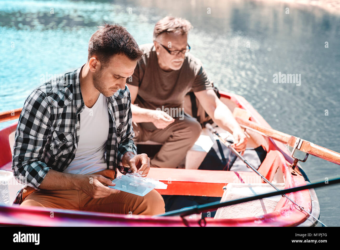 Fishing is a good way to de stress - Stock Image