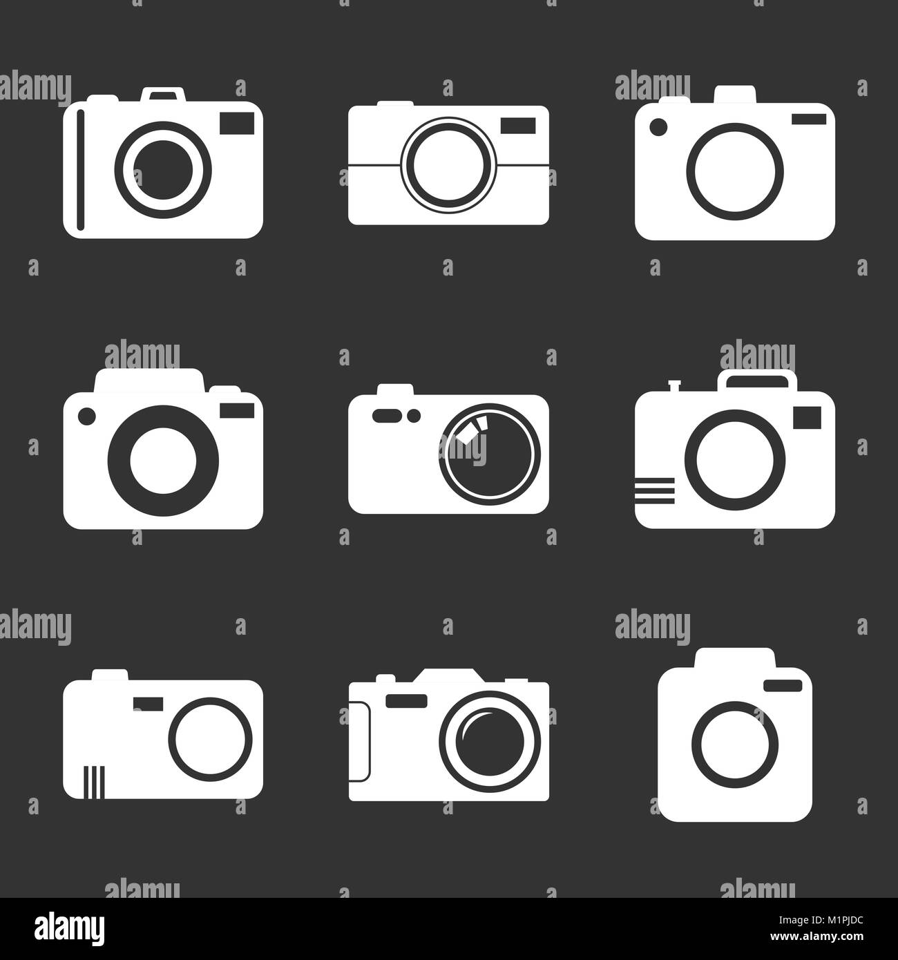 Camera icon set on black background. Vector illustration in flat style with photography icons. - Stock Vector