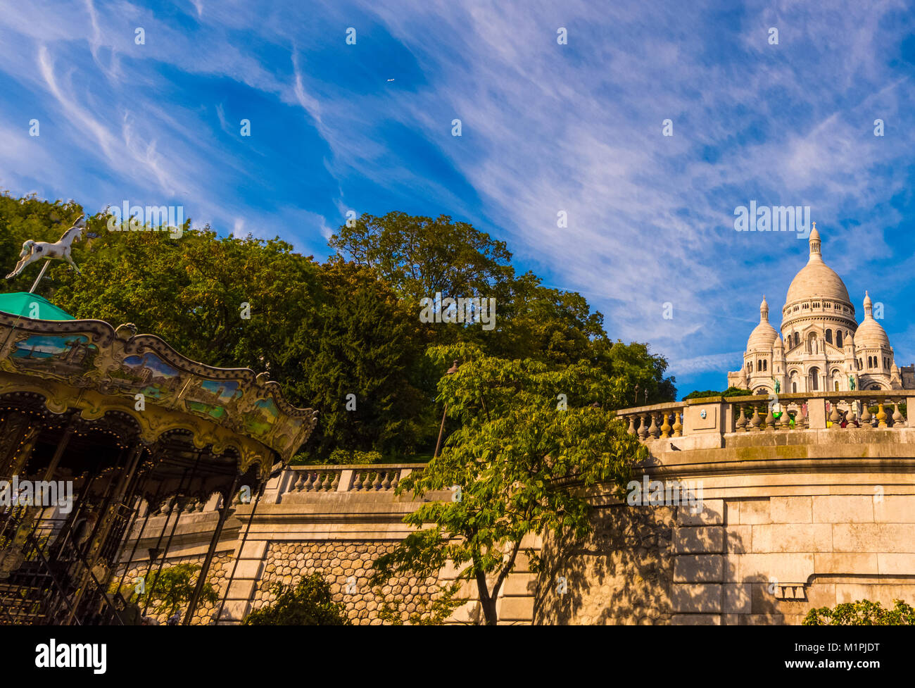 Color outdoor architectural image of the basilica Sacre Coeur, Paris, France, taken on a sunny day with blue sky - Stock Image