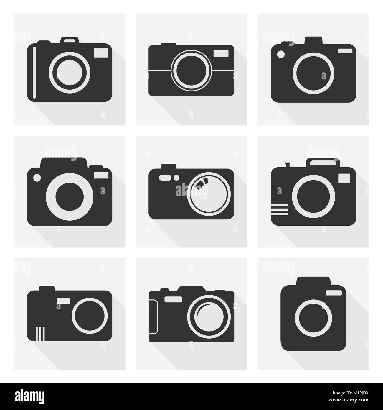 Camera icon set on white background with long shadow. Vector illustration in flat style with photography icons. - Stock Vector