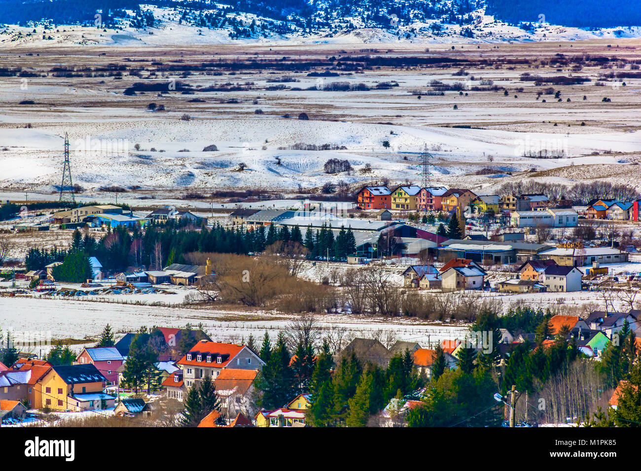 Aerial view at winter cityscape in Kupres canton, Bosnia Balkans. - Stock Image