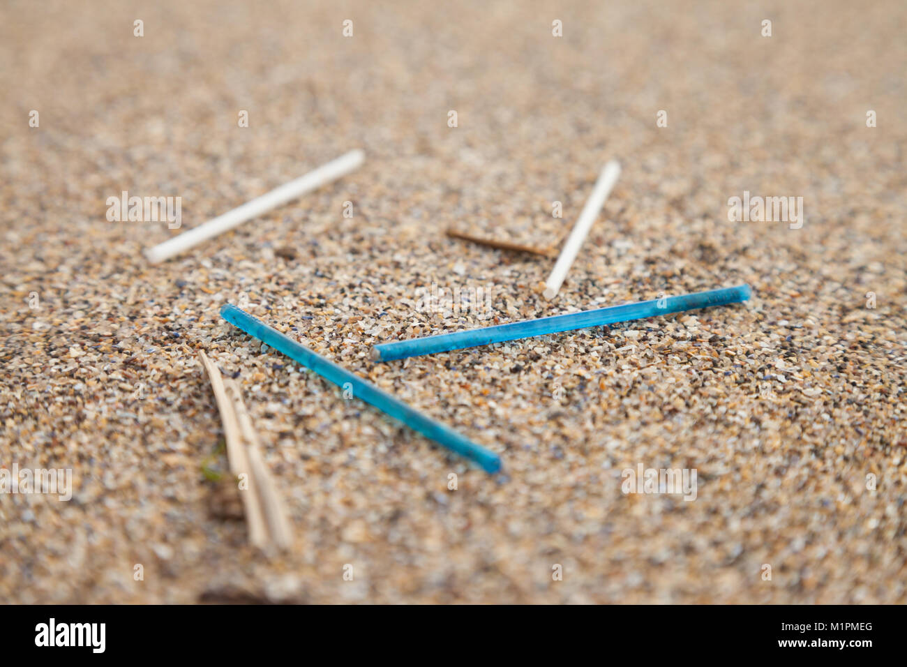 Plastic cotton ear bud sticks washed up on a beach in Fife Scotland - Stock Image