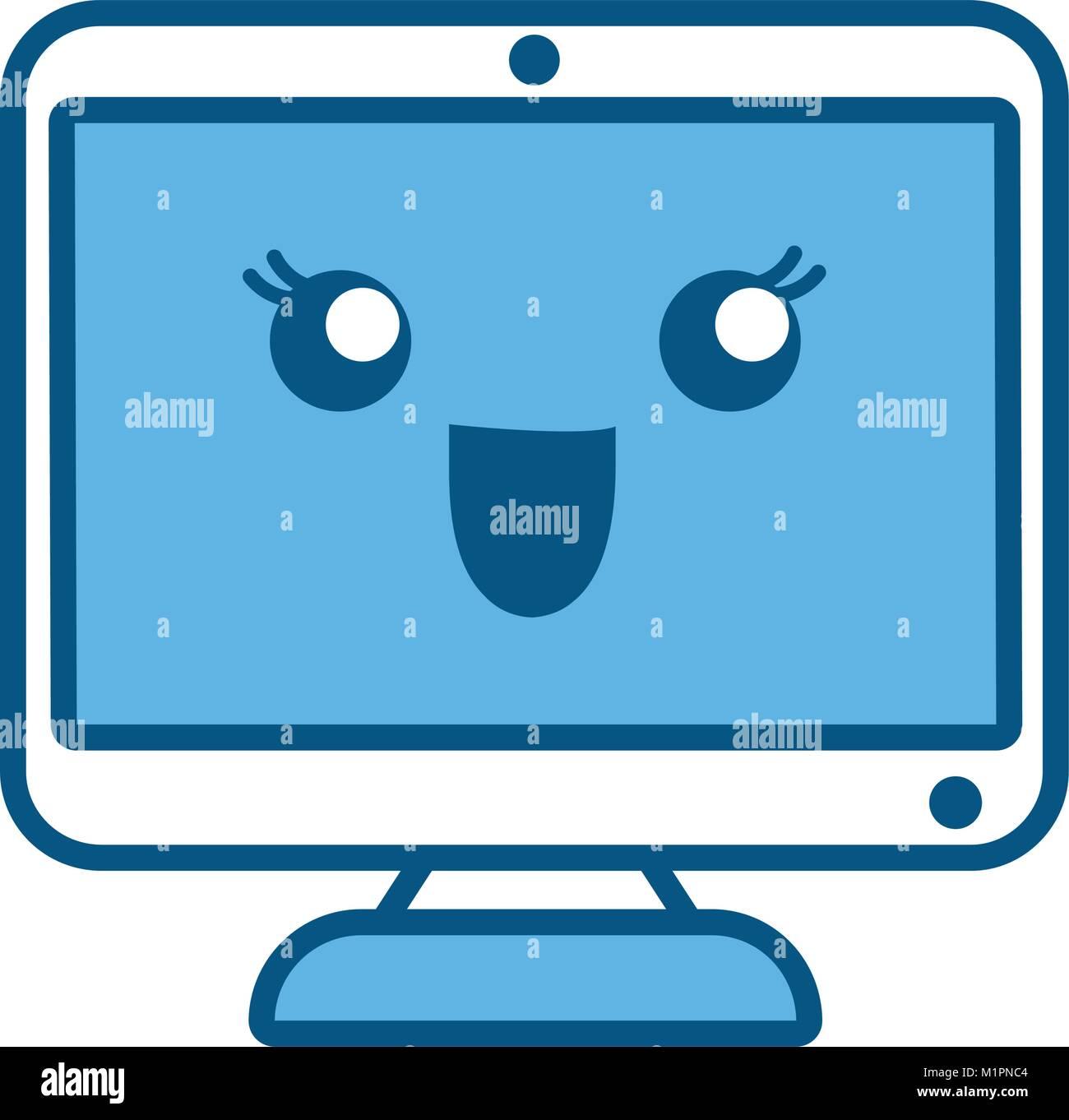 kawaii computer monitor icon - Stock Image