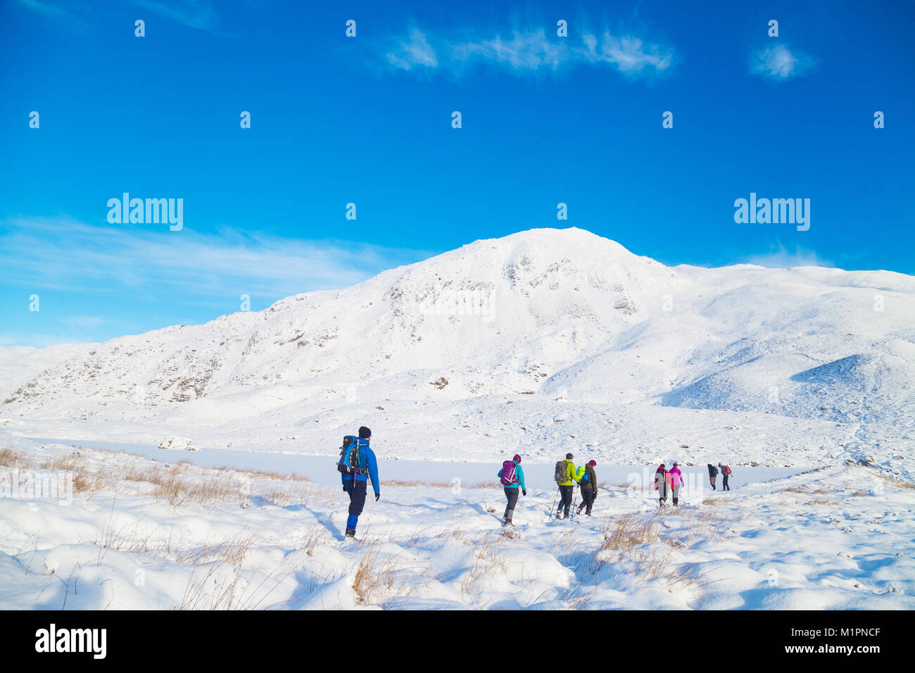 A group of walkers walking past Loch a' Choire on the way to the corbett Ben Vrackie near Pitlochry Scotland. - Stock Image