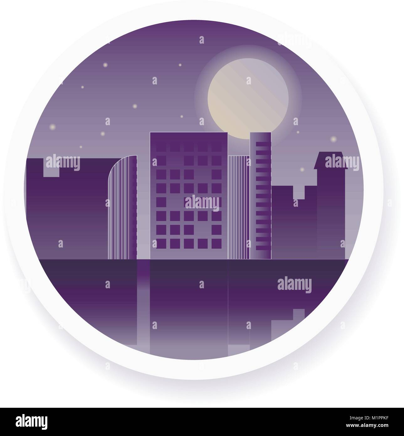 Vector night city with the moon in the sky illustration - Stock Image