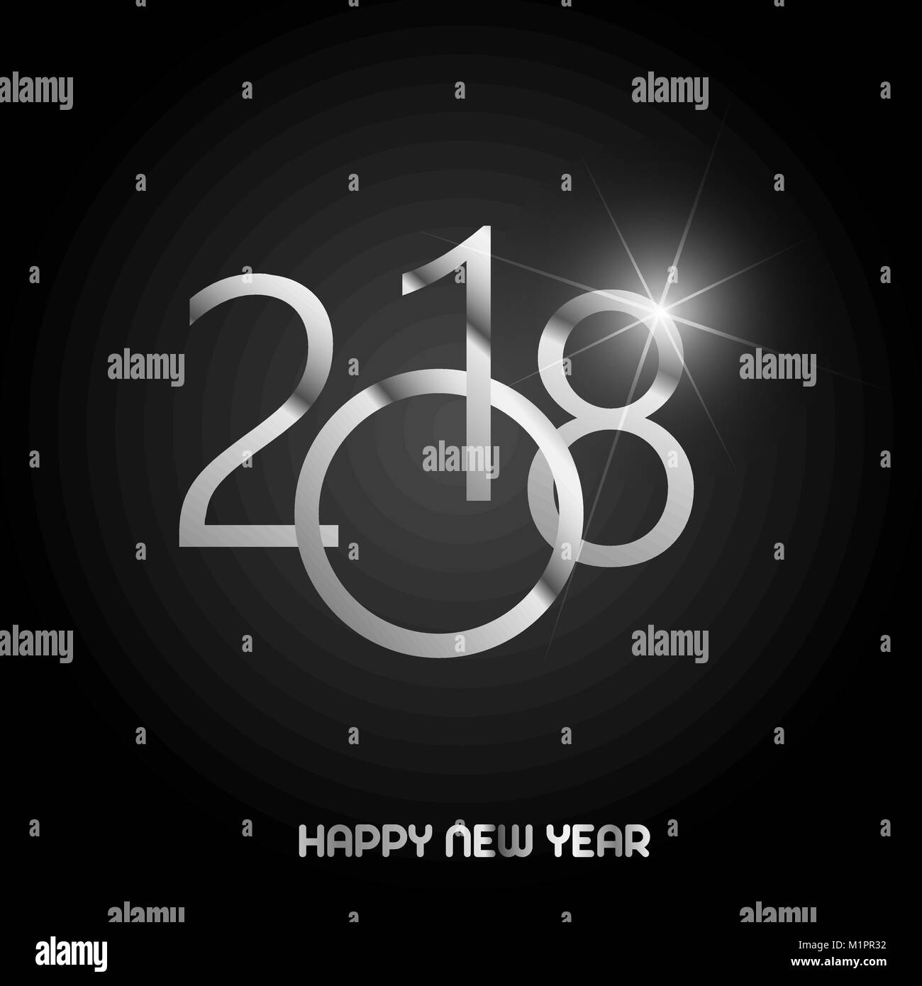 Happy New Year Greeting Card With Shining Silver Text On Black Stock