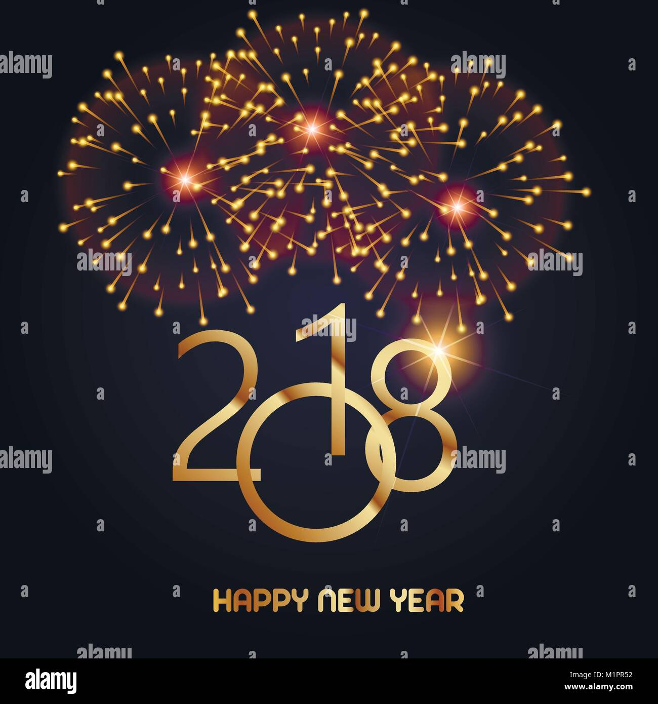 Happy New Year Greeting Card With Shining Gold Text And Fireworks On
