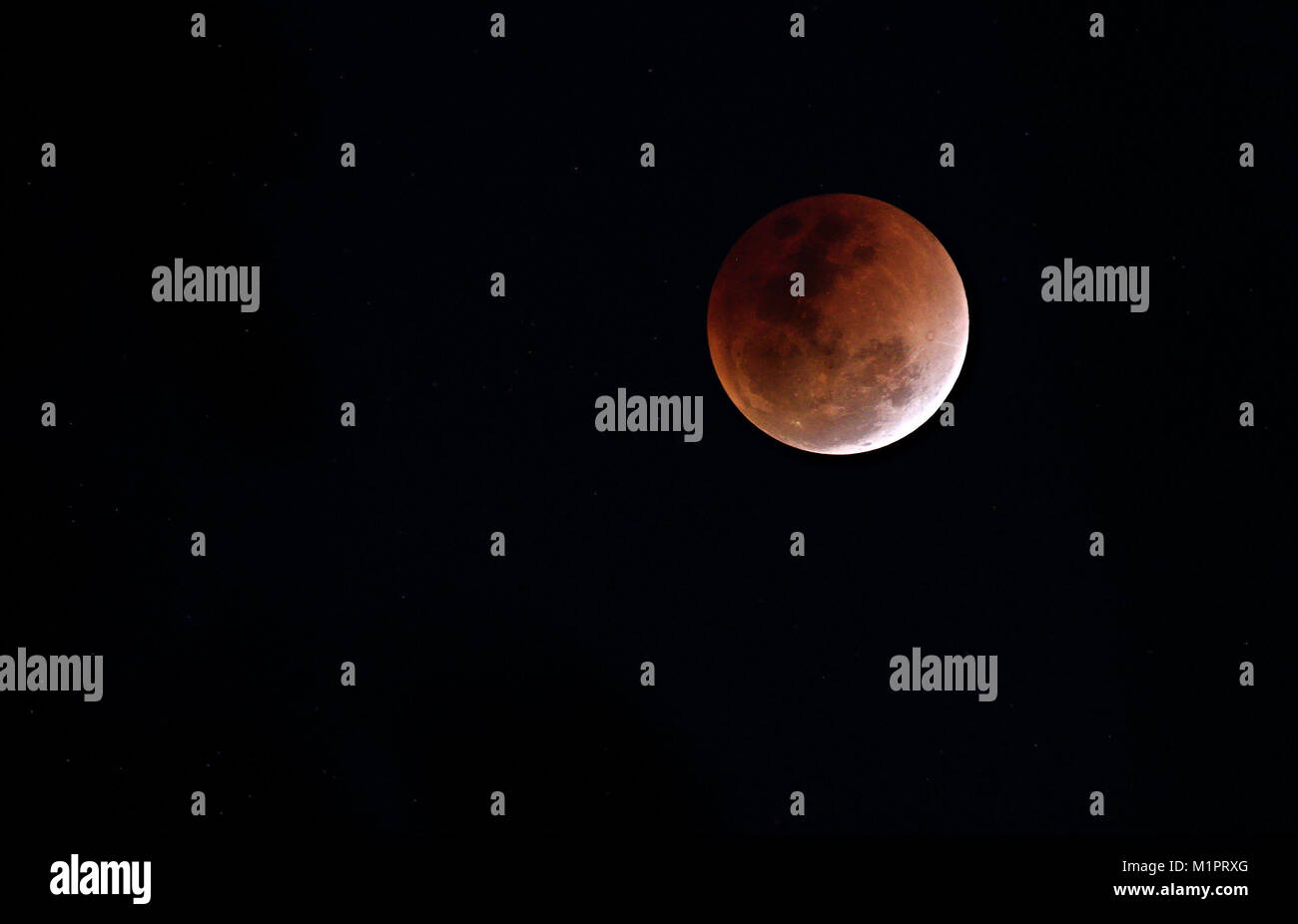 Super Blue Blood Moon - Lunar Eclipse - 31 January 2018 Stock Photo