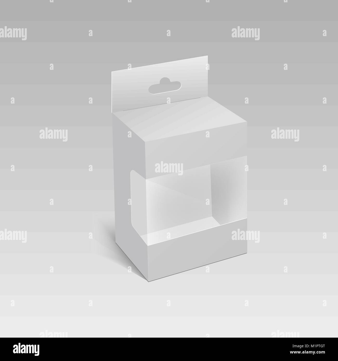 White Product Package Box With Hang Slot and plastic window. Mock Up ...