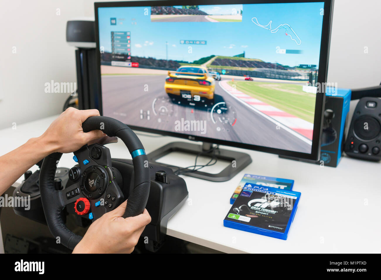 Playing Racing Video Game At Home Stock Photo 173220837 Alamy