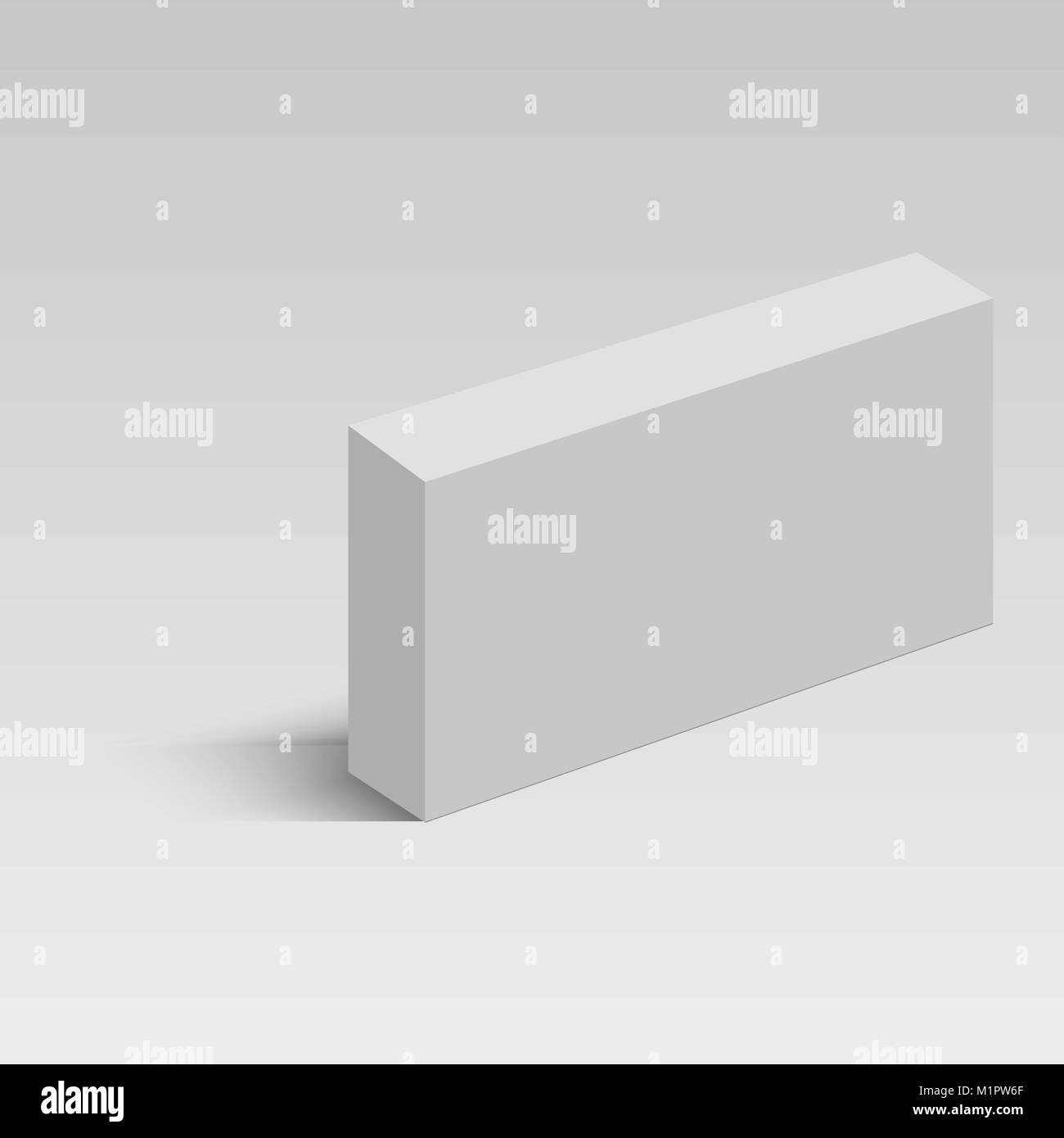 White long square cardboard box vector template. Paper container for ...