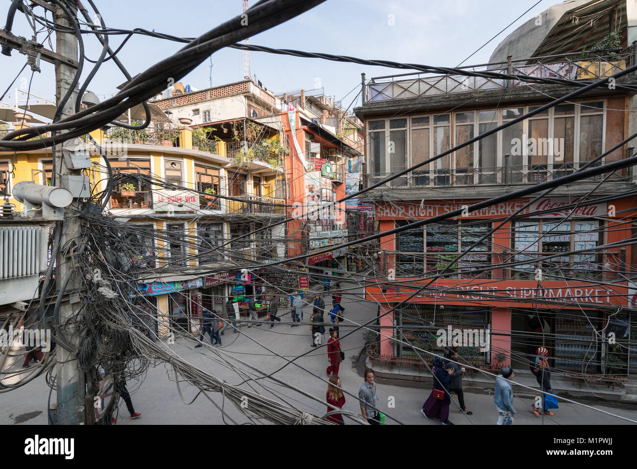 Many electric lines seen in Thamel, Kathmandu, Nepal - Stock Image