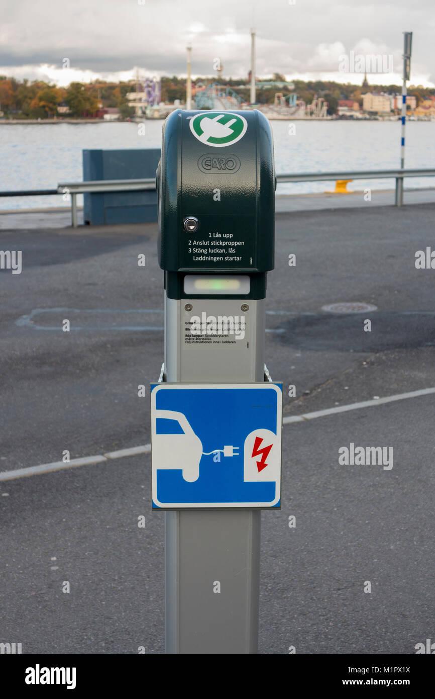 Charging station for electric cars, Stadsgården, Stockholm, Sweden. Stock Photo