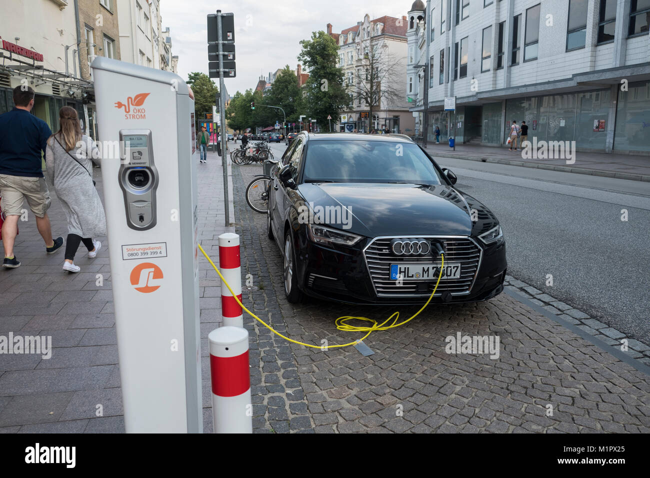 Charging station for electric cars, Lûbeck, Lybeck, Germany. Stock Photo