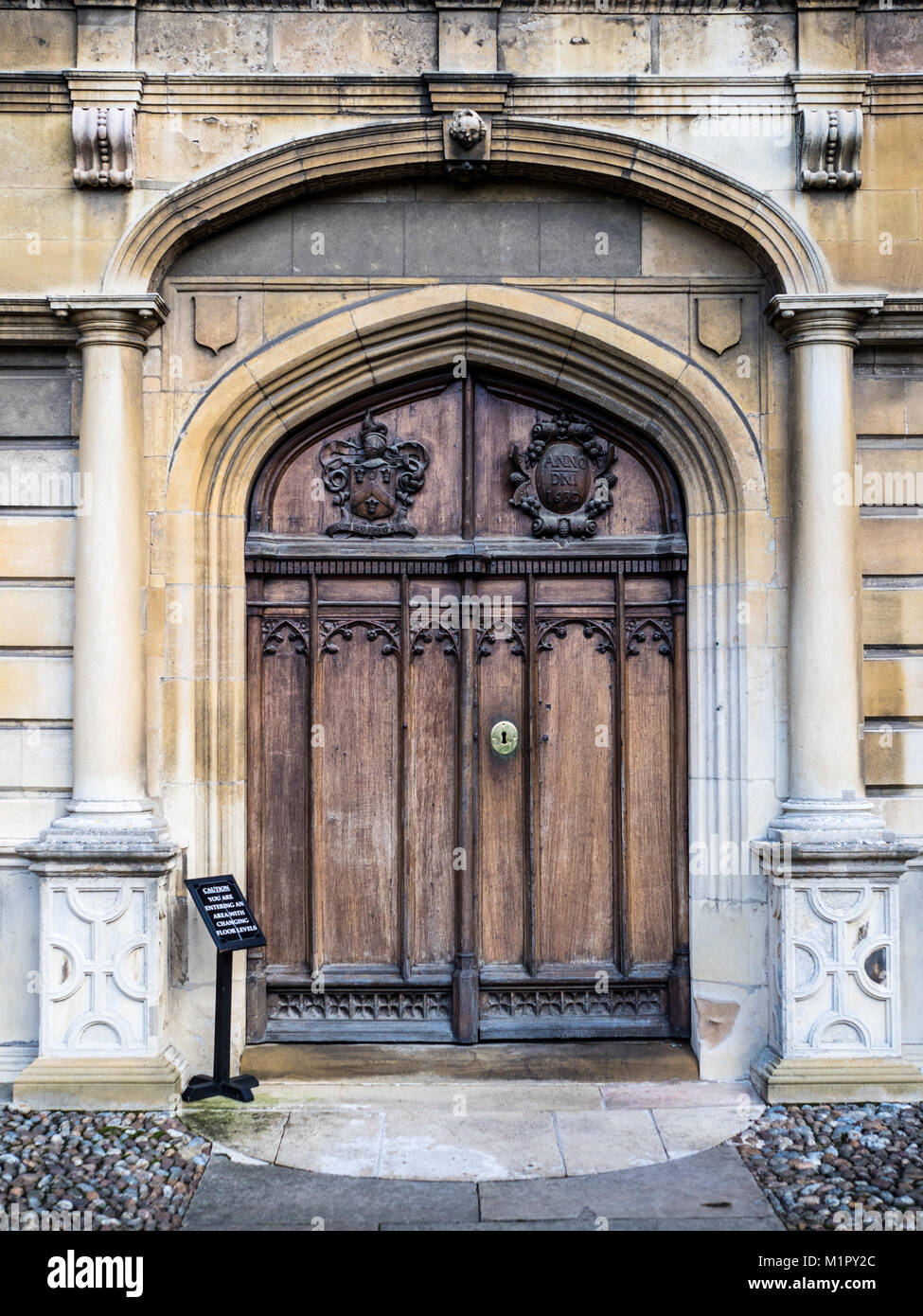 Peterhouse College Cambridge, chapel door. Part of the University of Cambridge the college was founded in 1284. - Stock Image