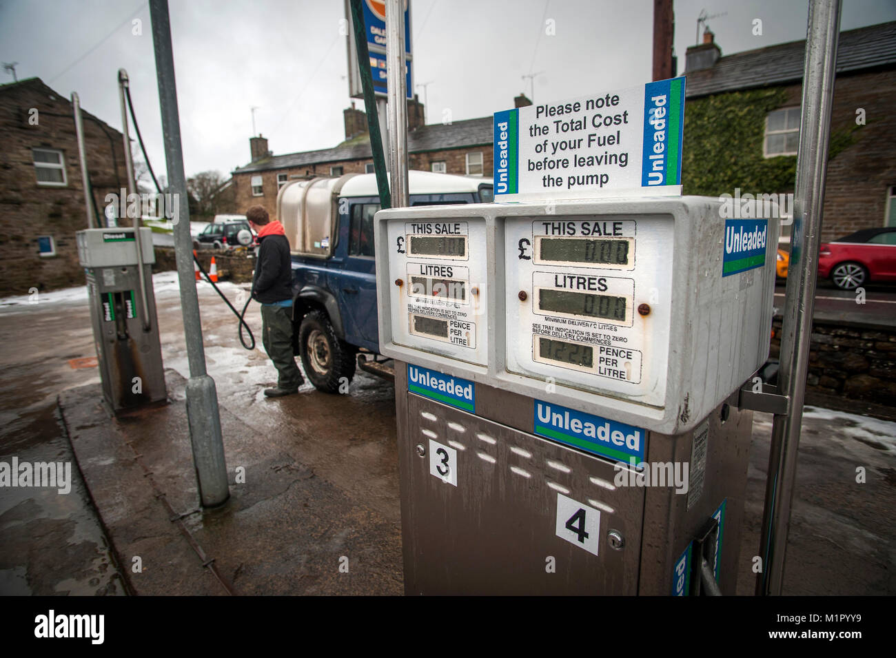 Filling up at the Dale Head Petrol Station now run by the local community in Hawes. The first community run petrol - Stock Image