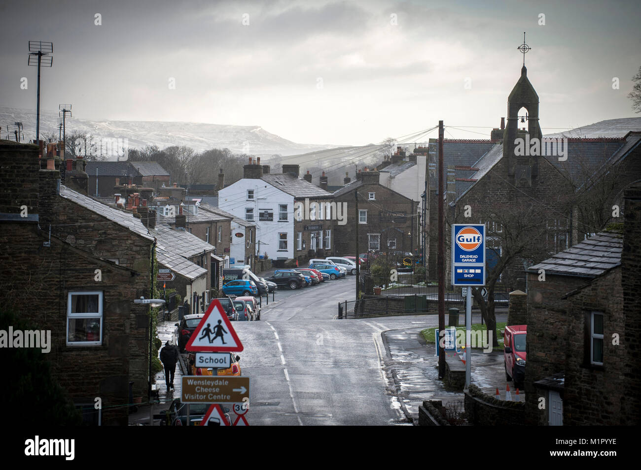 Looking into Hawes from Turfy Hill to the Market Place,North Yorkshire, UK. Stock Photo