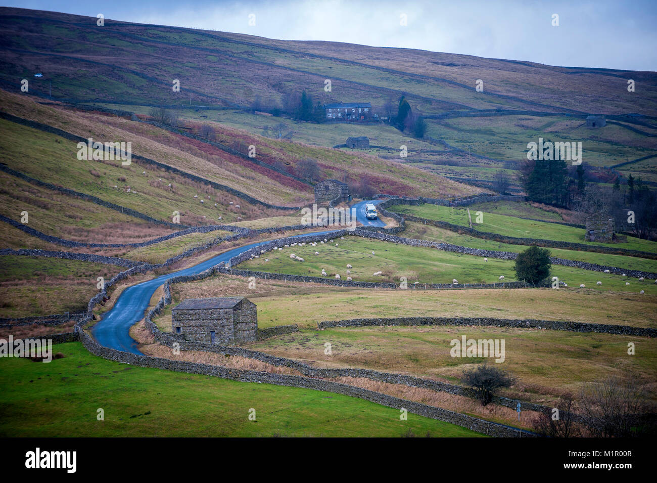 The Little White Bus makes its way on its Swaledale shuttle route this time leaving Keld for next stop Muker. Stock Photo