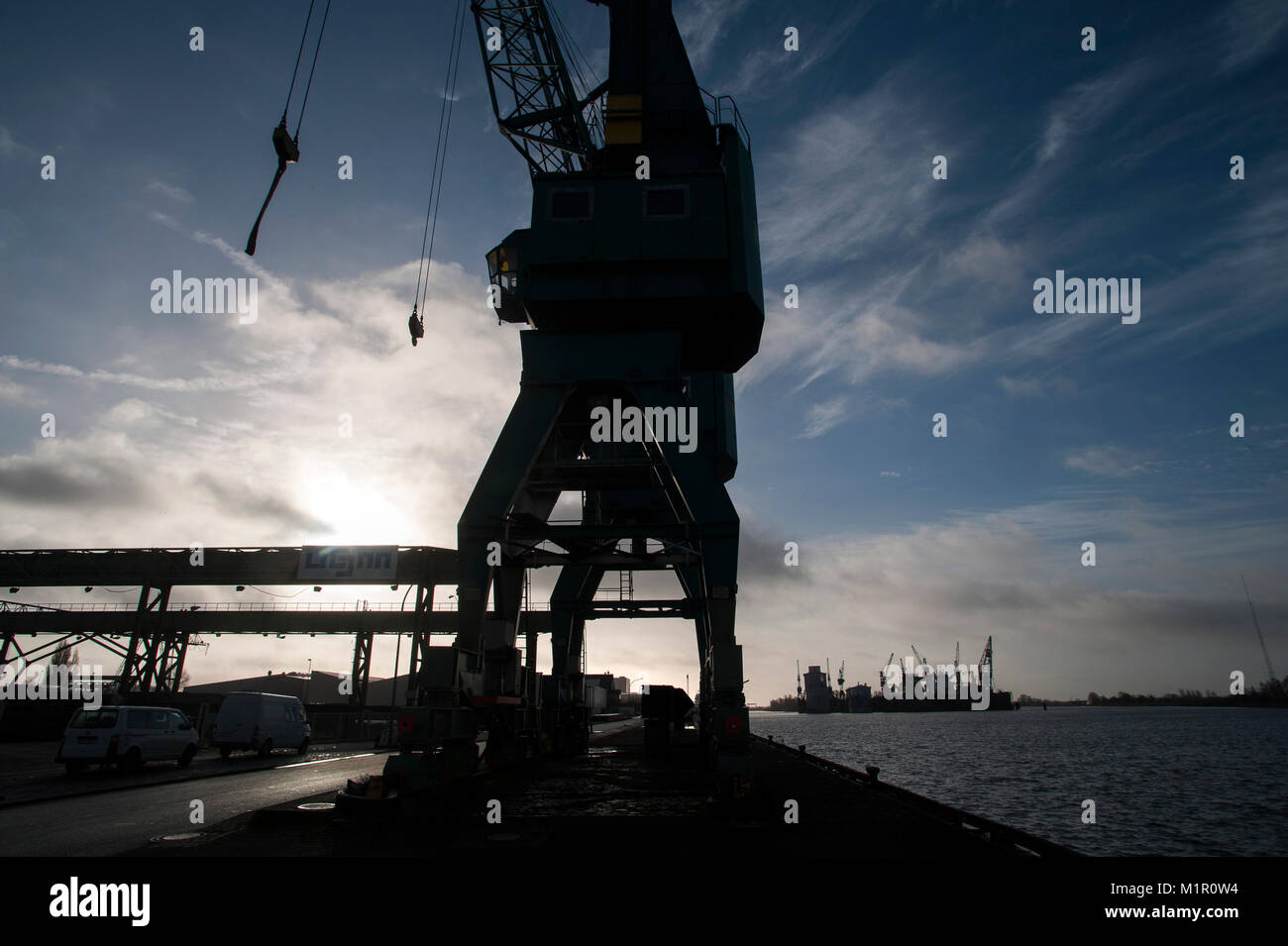 Could Bremerhaven Harbour and the trade their become a casualty of the Brexit negotiations. Bremerhaven, Germany. - Stock Image