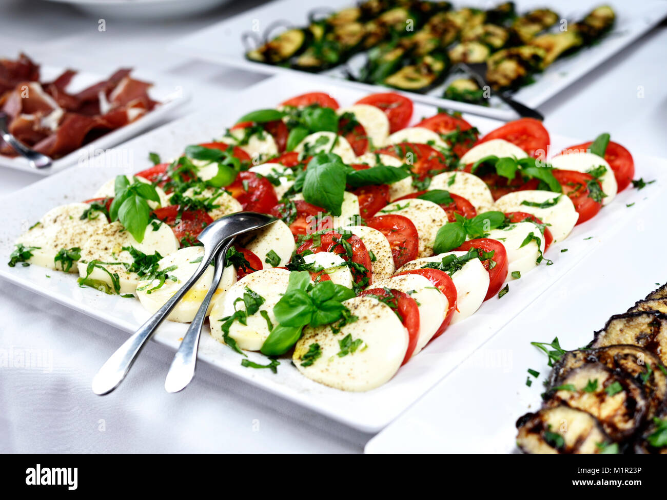 Antipasti buffet or banquet with tomato and mozzarella plate and fresh basil leaves. Wedding banquet or party buffet. - Stock Image