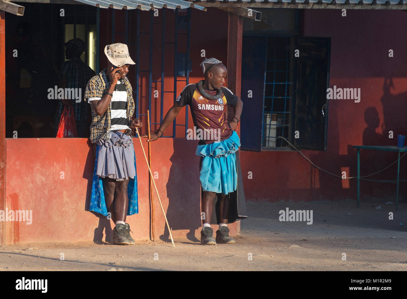 People, Himba, man, Opuwo, Namibia, Himba menMenschen man, Opuwo, Namibia, Himba Himba Men Men, Namibia  menMenschen, - Stock Image