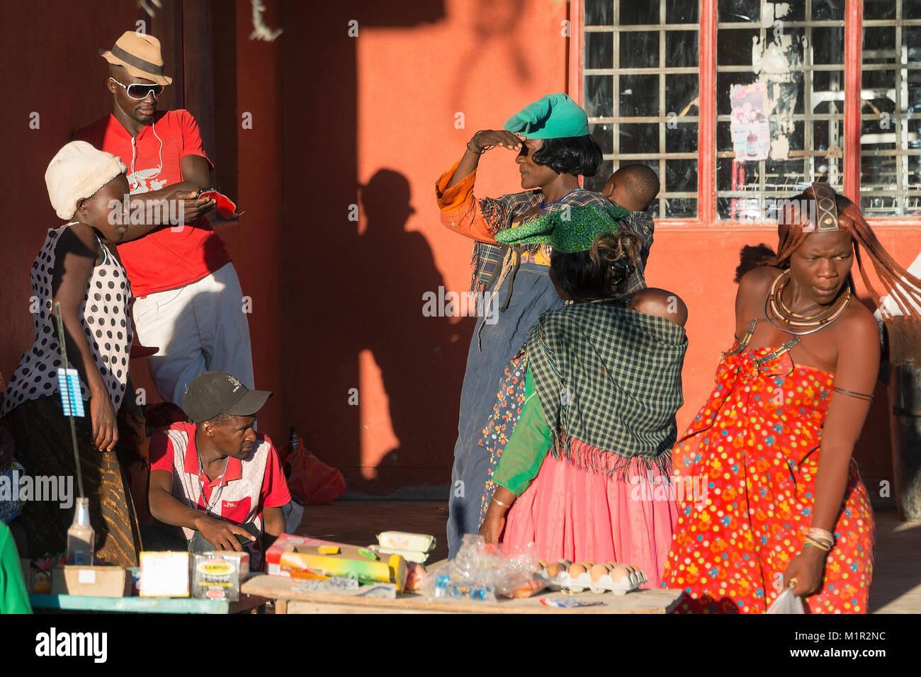 People, Opuwo, Namibia people, Opuwo, Namibia, Namibia Menschen - Stock Image