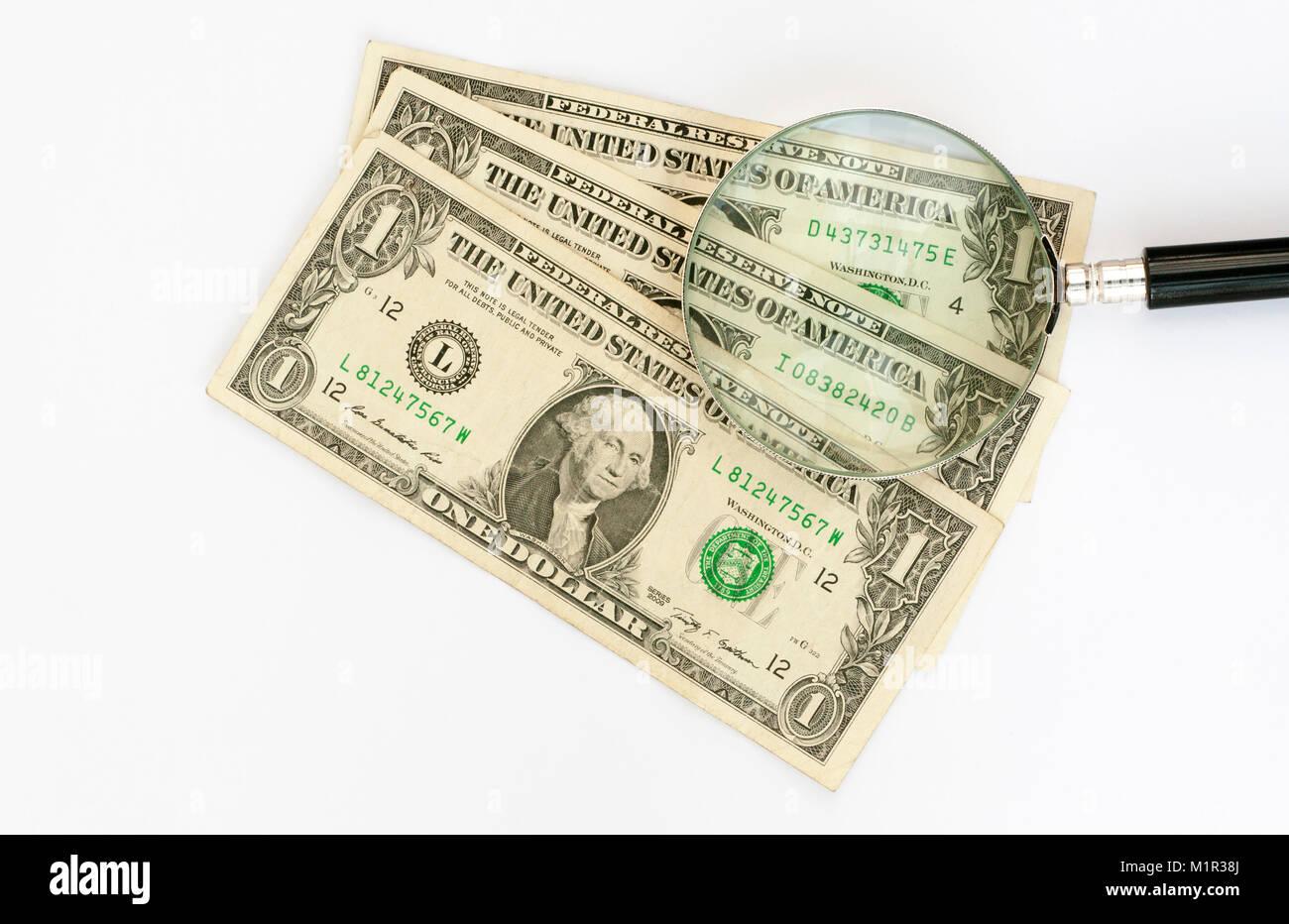 United States USA Dollars under the microscope - Stock Image