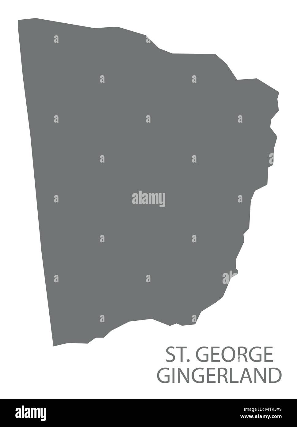 St. George Gingerland map grey illustration silhouette shape - Stock Vector