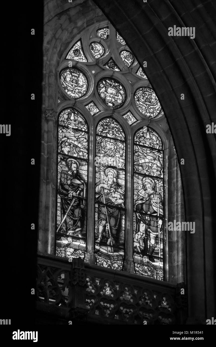 Church Window From Seville Spain In Black And White