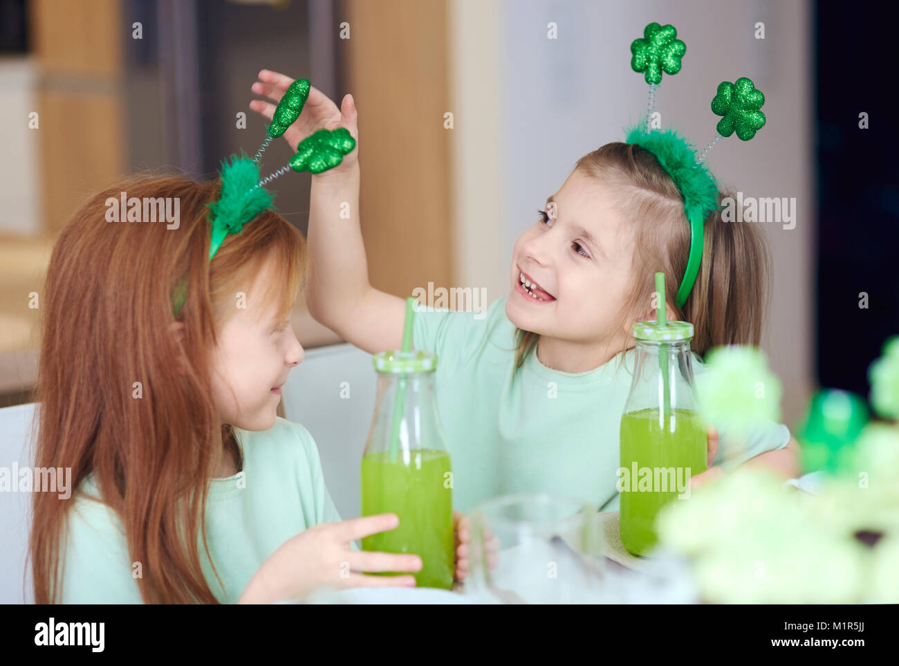 Children with cocktail having a fun - Stock Image