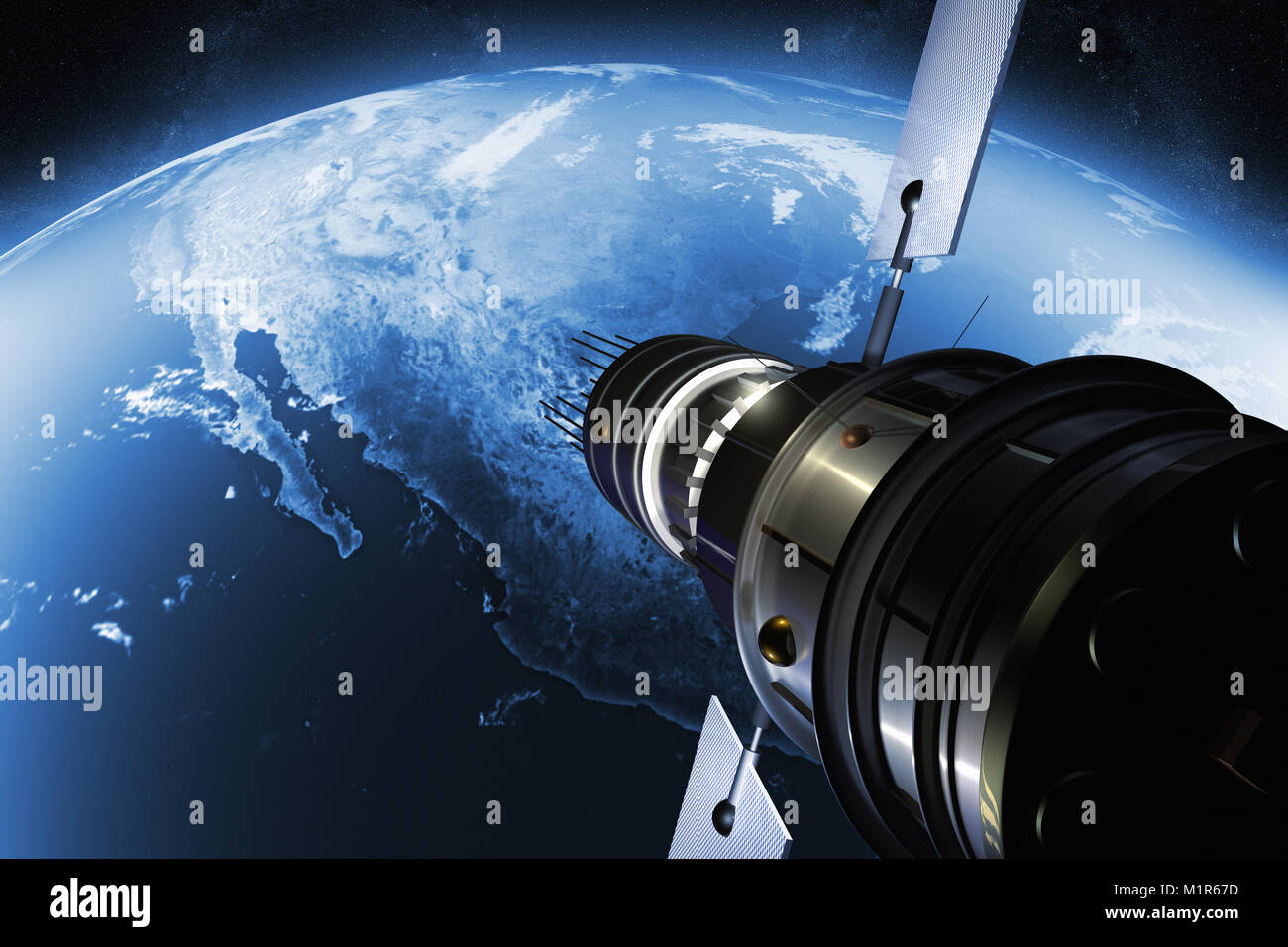 3D render of a satellite orbiting the earth - Stock Image