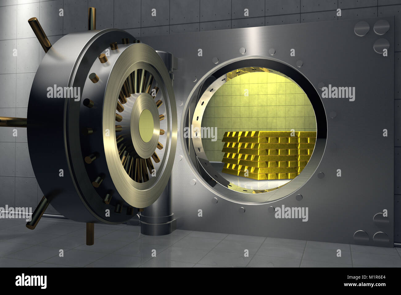 3D render of a bank vault with stack of gold bars inside - Stock Image