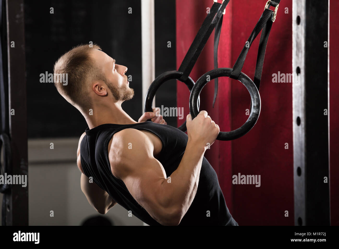 Fitness Man Pulling Up On Gymnastic Rings In The Gym Stock Photo