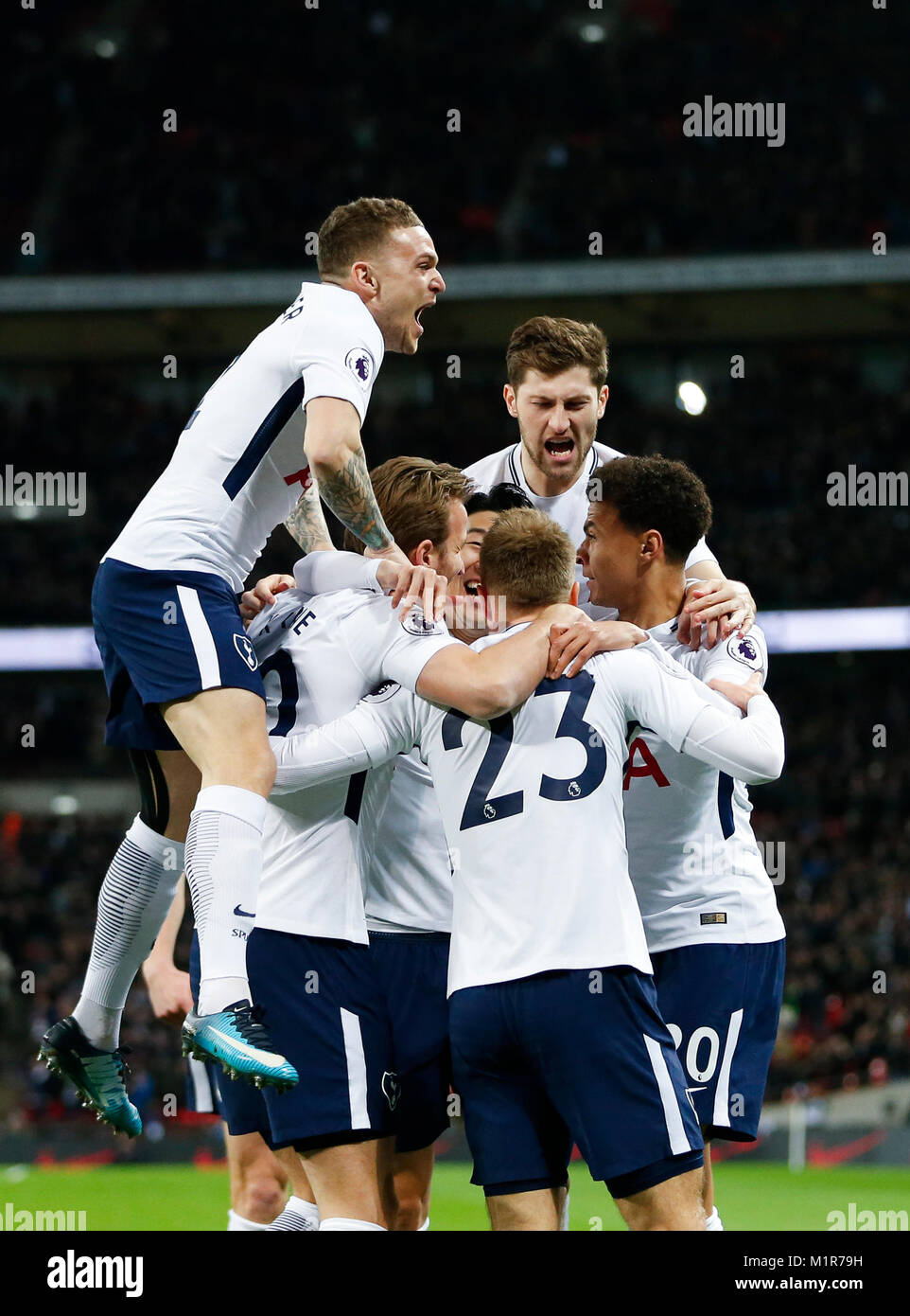 London, UK. 31st Jan, 2018. Players of Tottenham Hotspur celebrate after scoring during the English Premier League Stock Photo
