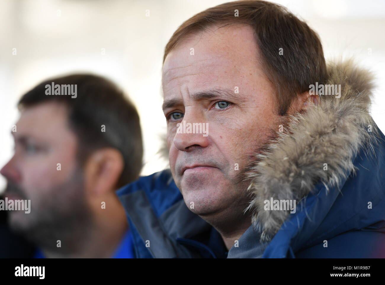 Russia. 01st Feb, 2018. AMUR REGION, RUSSIA - FEBRUARY 1, 2018: Russian Federal Space Agency (Roscosmos) Head Igor - Stock Image