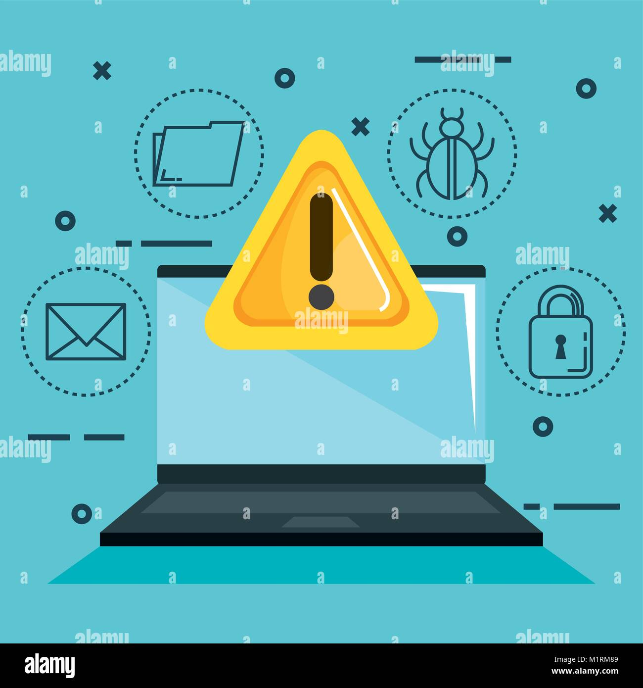 Theft identity set icons - Stock Vector