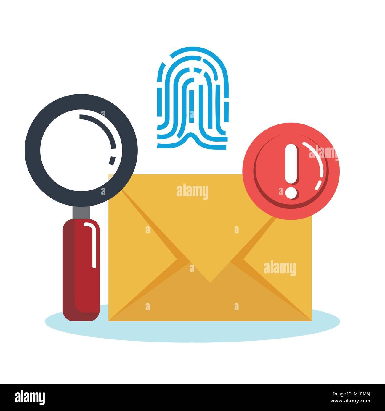 Theft identity set icons Stock Vector