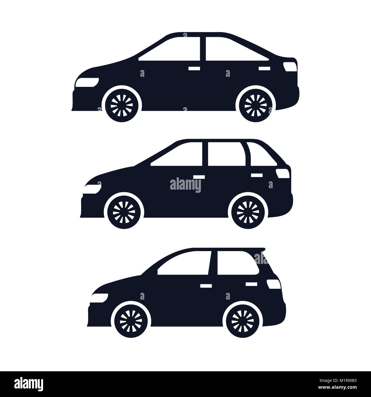group of cars sedan icons - Stock Image