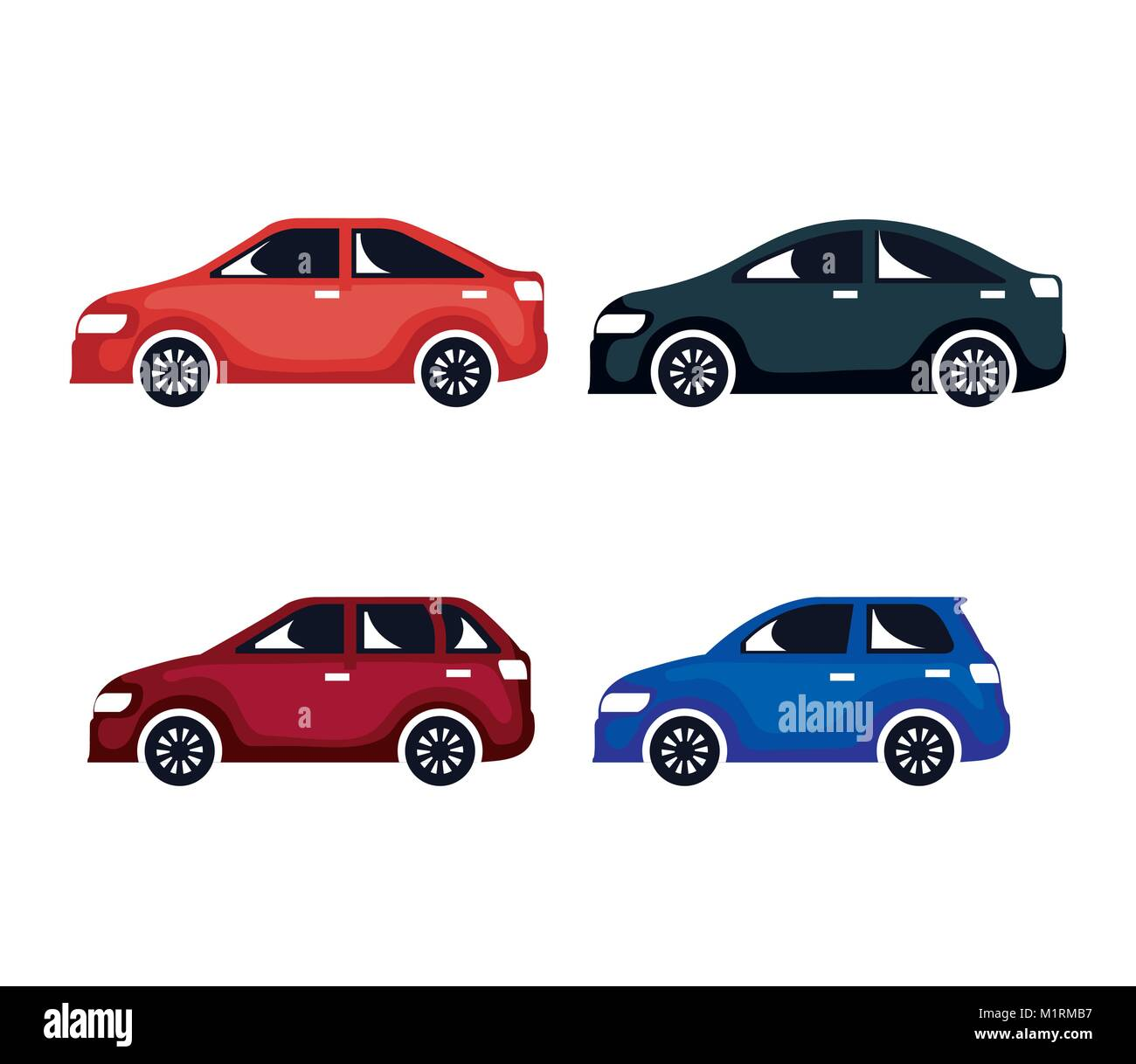 group of cars sedan icons - Stock Image