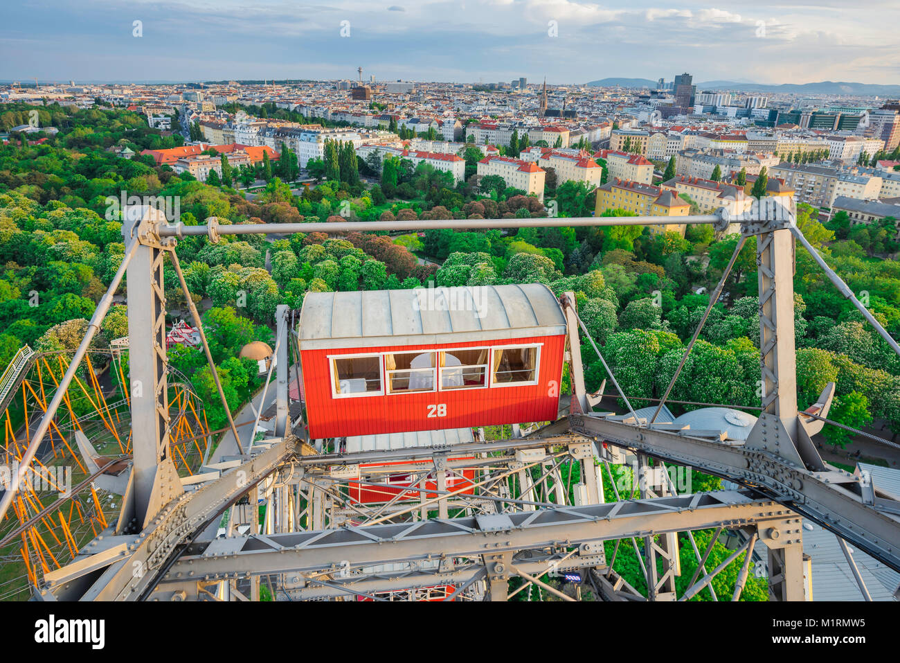 Vienna Prater Riesenrad, a view of the Prater park and Vienna cityscape from the Riesenrad ferris wheel, Austria. - Stock Image