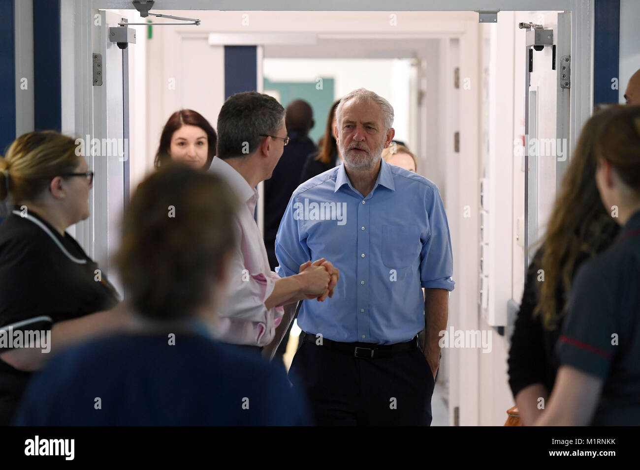 Labour leader Jeremy Corbyn during a visit to Milton Keynes University Hospital with newly selected Labour parliamentary - Stock Image