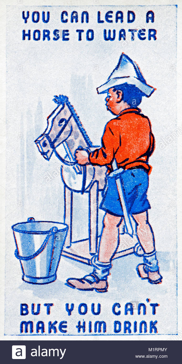 You can lead a Horse to Water but you can't make him Drink proverb illustration 1938 - Stock Image