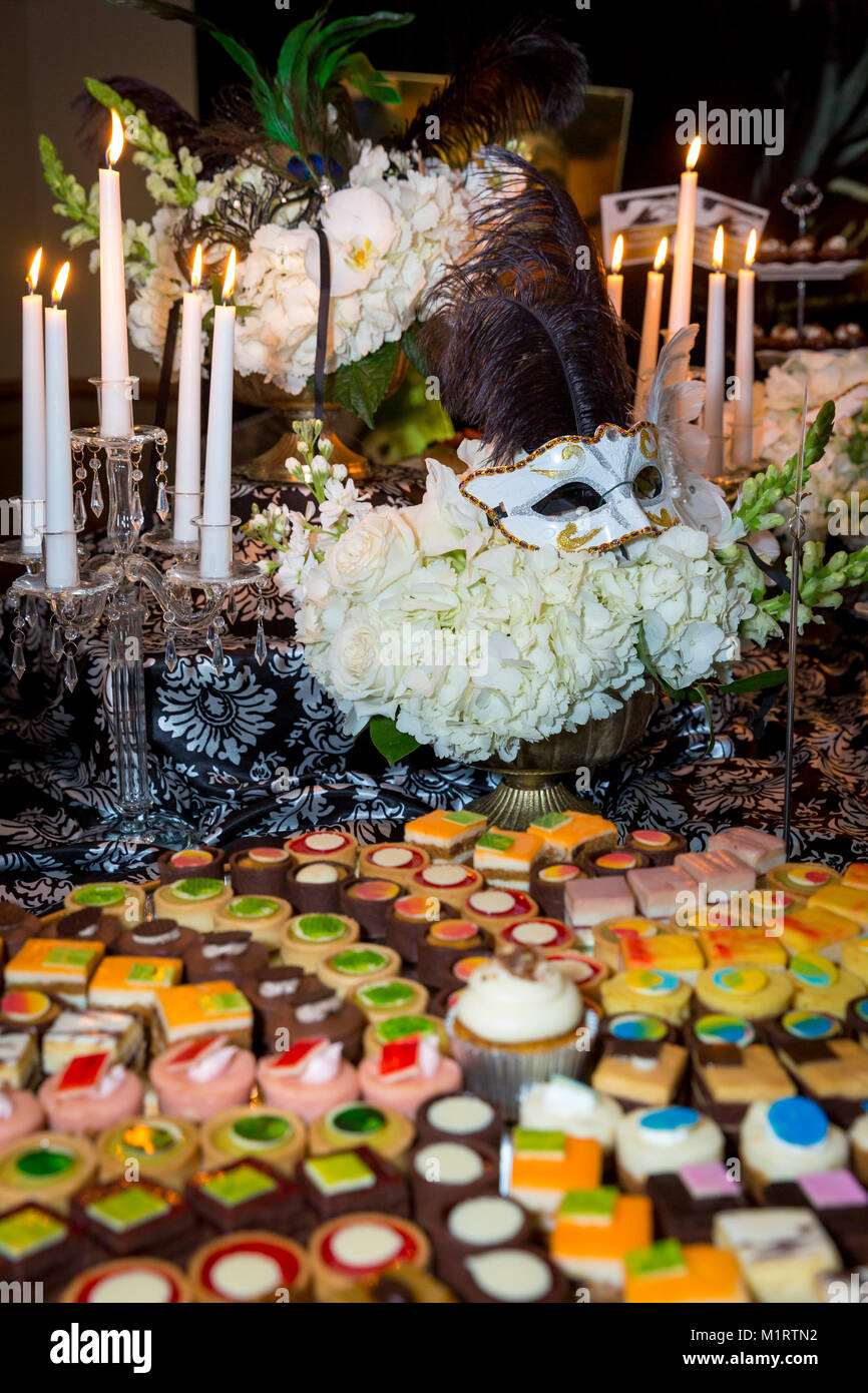 Deserts and decor at a Venice-inspired buffet dinner, Naples, Florida, USA - Stock Image