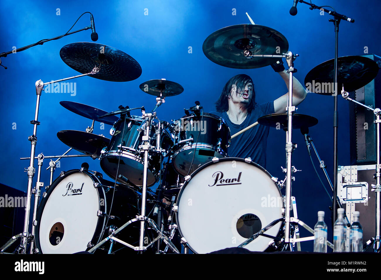 The French death metal band Gojira performs a live concert at Plenen in Bergen. Here drummer Mario Duplantier is - Stock Image