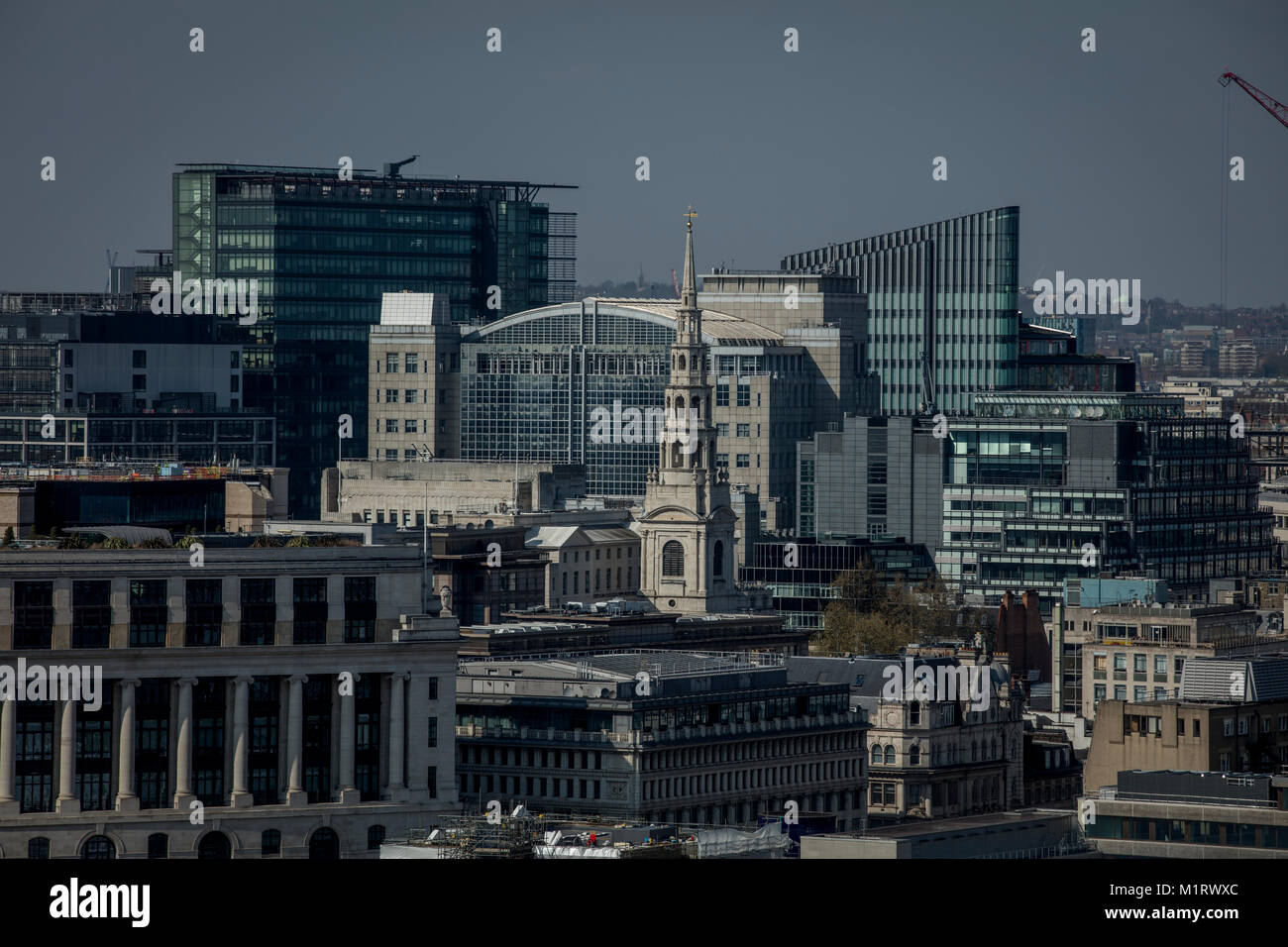 Unilever House and St Brides Church in London - Stock Image