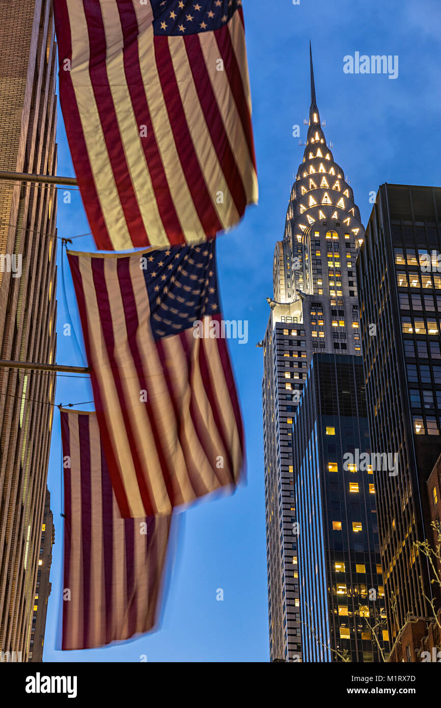 Chrysler building and American flags New York City - Stock Image