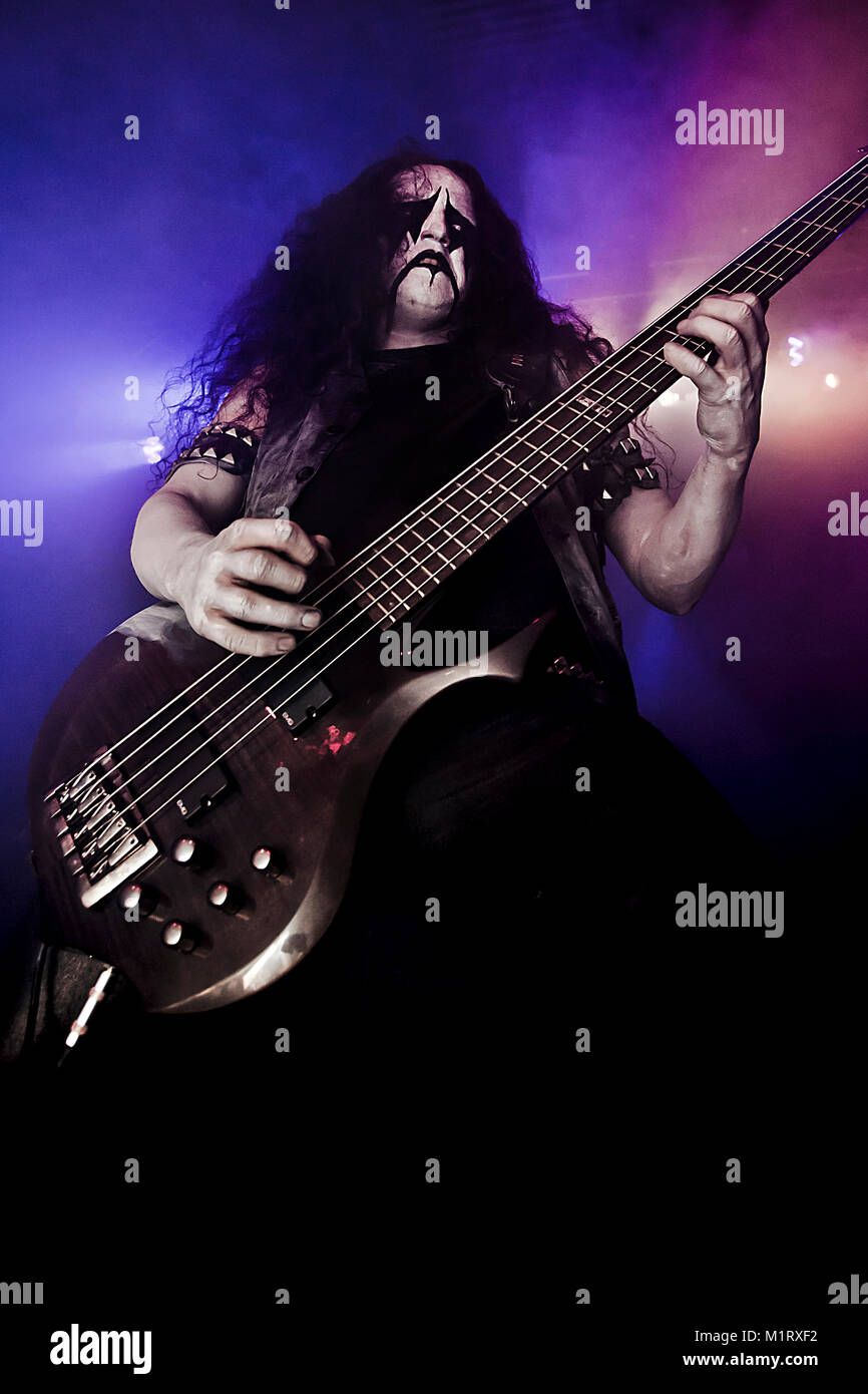 The Swedish black metal band Watain performs a heavy metal festival Hole in The Sky 2011 in Bergen. Here bass player - Stock Image
