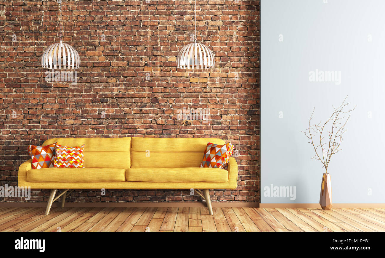 Modern interior of living room with yellow sofa and lamps ...